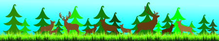 Vector silhouette of forest with deer,hind and baby hind. Illusztráció