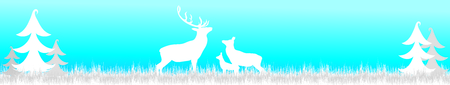 Vector silhouette of forest with deer,hind and baby hind in winter.