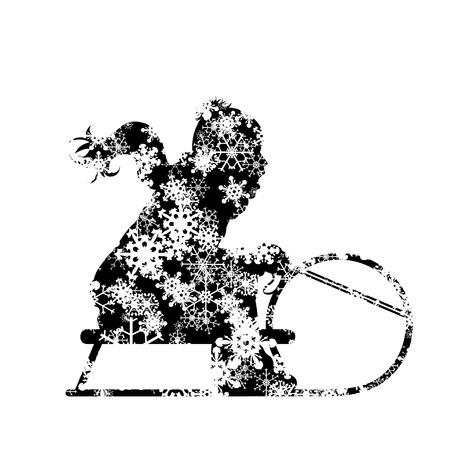 Vector silhouette of boy who sledding on snow toboggan.