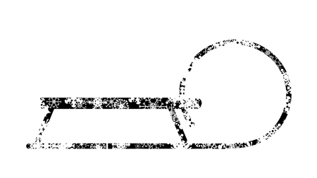Vector silhouette of snow toboggan.