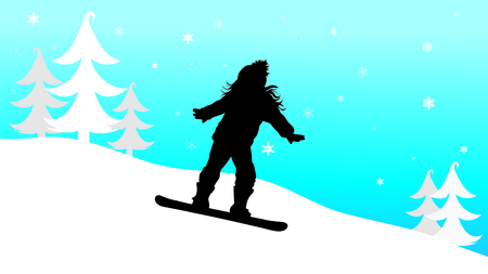 Vector silhouette of girl who snowboarding in the mountains in winter.
