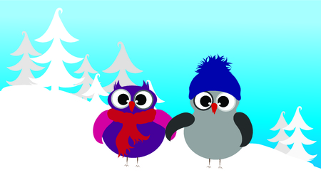 Vector illustration of owl family in the snowy woods in the winter.