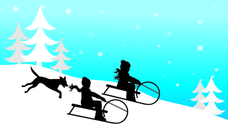 Vector silhouette of children who sledding on snow toboggan in the mountains in winter.