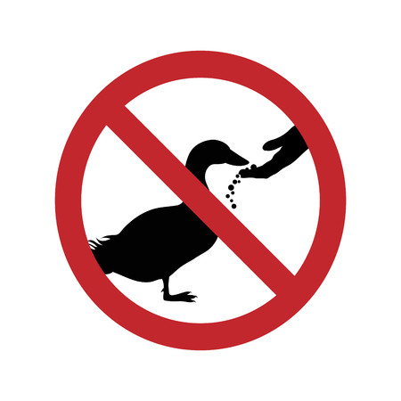 Do not feed the duck ban mark on a white background.