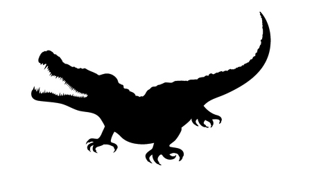 Vector silhouette of crocodile on white background.