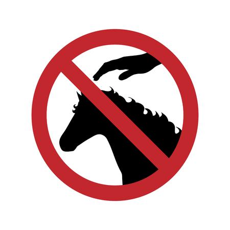 Ban on touching horse on white background. Illustration