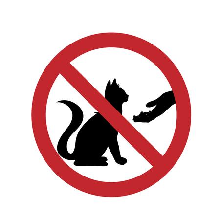 Ne nourrissez pas la marque d'interdiction de chat sur un fond blanc.