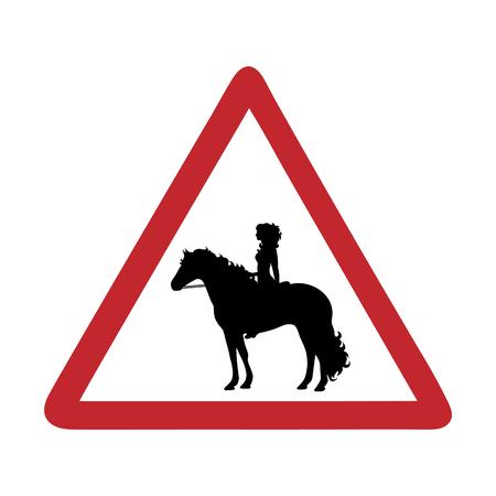Traffic mark caution horse rider on white bakground.