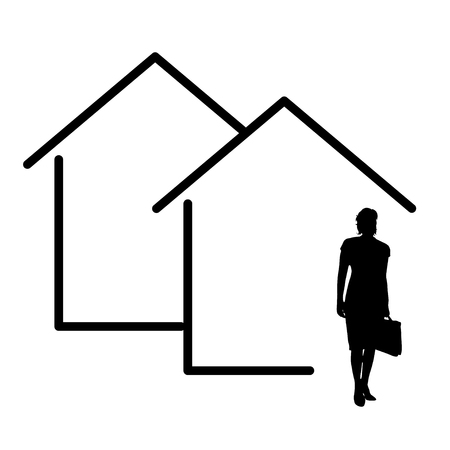 vector illustation house icon with woman real estate agent silhouette