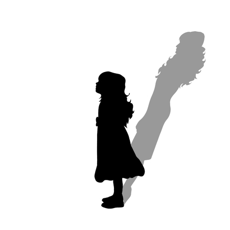 Child with shadow of adult woman. Vector silhouette on white background. Illustration of girl aging symbol.