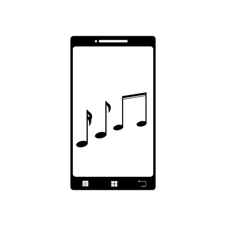 Illustration of mobil phone with music icon. Vector silhouette on white background. Symbol of telephone, cell phone, smartphone.
