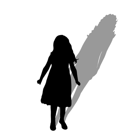 Child with shadow of adult woman. Vector silhouette on white background. Illustration of girl aging symbol. Фото со стока - 125686216