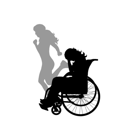 Sad woman on wheelchair with shadow of healthy woman which runs away. Vector silhouette on white background. Illustration of recover symbol. Иллюстрация