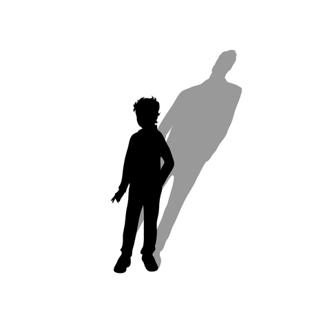 Child with shadow of adult man. Vector silhouette on white background. Illustration of boy aging symbol.
