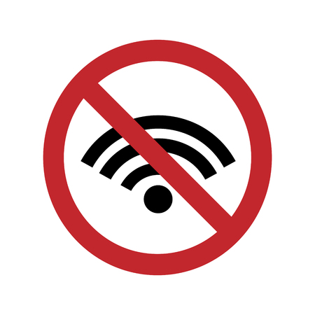 A ban on using the wifi on a white background. Vector silhouette on white background. Prohibition use internet connection.