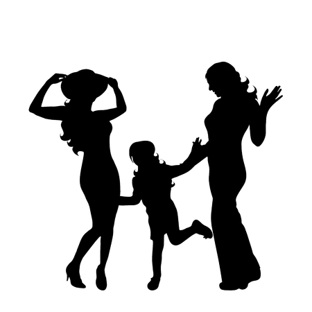 Homosexual family with child. Vector silhouette on white background. Illustration of lesbian icon.
