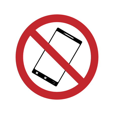 A ban on using the phone on a white background. Vector silhouette on white background. Prohibition call by mobil.  イラスト・ベクター素材