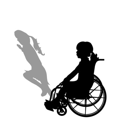 Child on wheelchair with shadow of healthy child who rund away. Vector silhouette on white background. Illustration of girl recover symbol. 일러스트