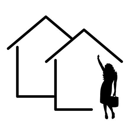 icono de casa de ejemplares vectoriales con silueta de agente inmobiliario de mujer