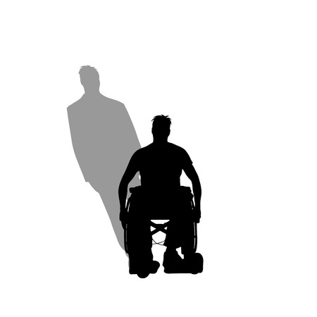 Man on wheelchair with shadow of healthy man who stand on his feet. Vector silhouette on white background. Illustration of recover symbol. 스톡 콘텐츠 - 125686239