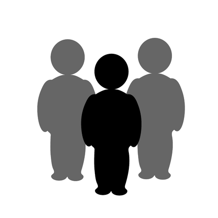 Illustration of people icon. Vector silhouette on white background. Symbol of team. Sign of person.