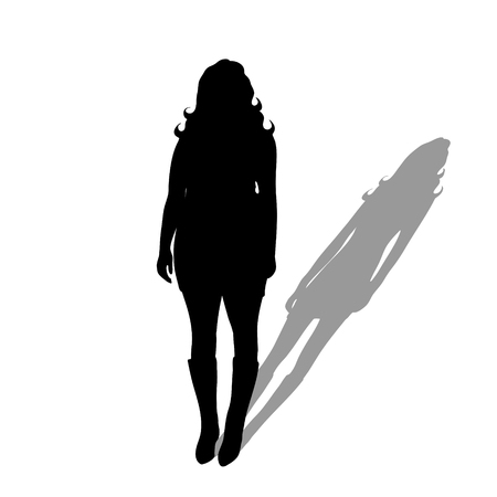 Obese woman with shadow of slim woman. Vector silhouette on white background. Illustration of weight loss symbol. Illusztráció