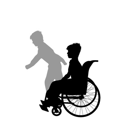 Child on wheelchair with shadow of healthy child who rund away. Vector silhouette on white background. Illustration of boy recover symbol.