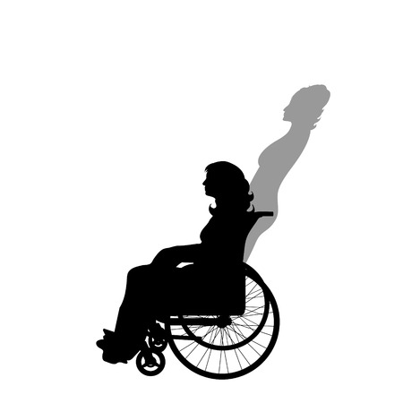 Woman on wheelchair with shadow of healthy woman who stand on her feet. Vector silhouette on white background. Illustration of recover symbol.