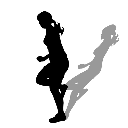 Obese woman with shadow of slim woman. Vector silhouette on white background. Illustration of weight loss symbol by sport.