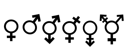 Homosexual, heterosexual, bisexual transgender, transsexual symbol. Vector silhouette on white background. Illustration set of lesbian and gay icon.