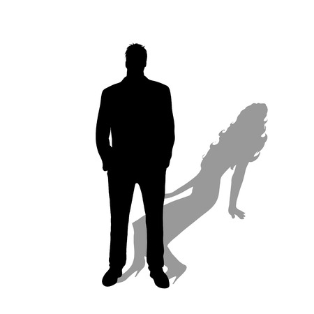Male and female transgender, transsexual symbol. Vector silhouette on white background. Illustration of trassexuality icon.