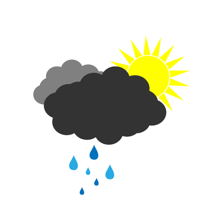 Symbol of a clouds weather with sun and rain. Vector illustration on a white background. Cartoon of partly cloudy and rainy.