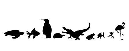 Illustration of set aquatic animals icon. Vector silhouette on white background.