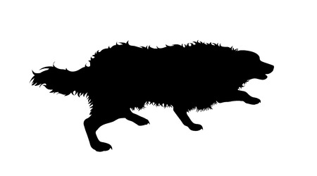 Illustration of running dog icon. Vector silhouette on white background.