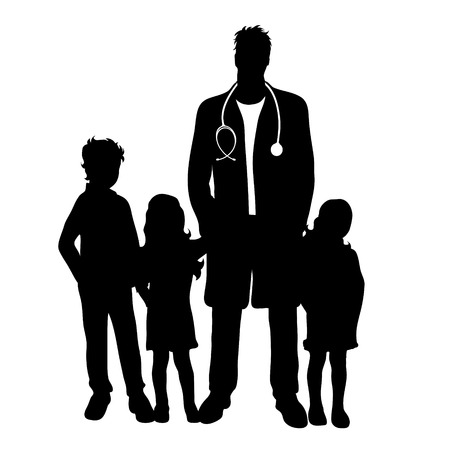 Vector silhouette of pediatrician doctor with childen�s patient on white background. Symbol of healthy and hospital.