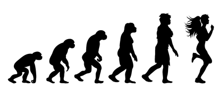 Theory of evolution of woman. Vector silhouette of homo sapiens. Symbol from monkey to runner. Illustration