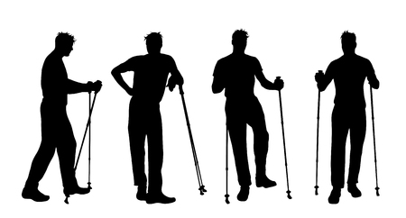 Silhouette vecteur de l'homme qui fait du sport avec la marche nordique sur fond blanc.