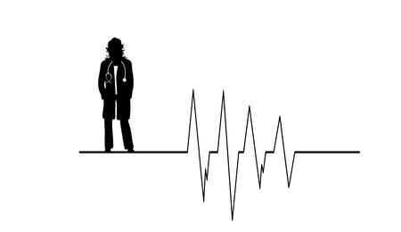 Vector silhouette of doctor with coat and stethoscope on white background. Symbol of healthy and hospital. Cardiology rhythm. Illustration