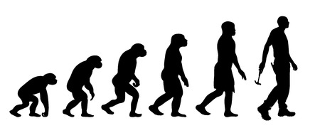Theory of evolution of man. Vector silhouette of homo sapiens. Symbol from monkey to worker.