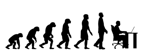 Theory of evolution of man. Vector silhouette of homo sapiens. Symbol from monkey to businessman.