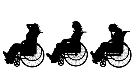 Vector silhouette of woman who sit on wheelchair with gypsun on her leg on white background. Symbol of injury.