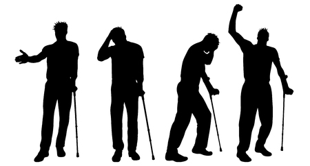 Vector silhouette of man who walking with crutches on white background. Symbol of injury.