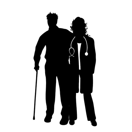 Vector silhouette of doctor with patient on white background. Symbol of healthy and hospital. Man with stick. Ilustracja