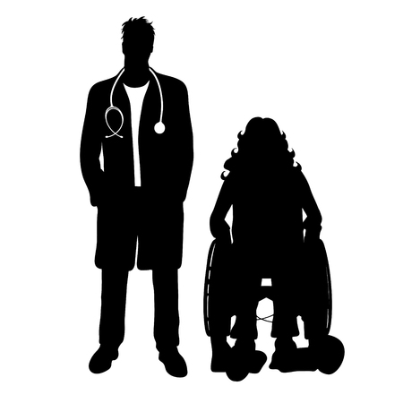Vector silhouette of doctor with patient on white background. Symbol of healthy and hospital. Woman sit on the wheelchair.