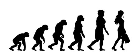 Theory of evolution of woman. Vector silhouette of homo sapiens. Symbol from monkey to shopping.