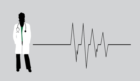Vector silhouette of doctor with coat and stethoscope on white background. Symbol of healthy and hospital. Cardiology rhythm.