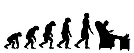 Teoría de la evolución del hombre. Silueta de vector de homo sapiens. Símbolo de mono a trabajador.