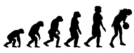 Theory of evolution of woman. Vector silhouette of homo sapiens. Symbol from monkey to basketball player.