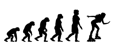 Theory of evolution of woman. Vector silhouette of homo sapiens. Symbol from monkey to roller skater.