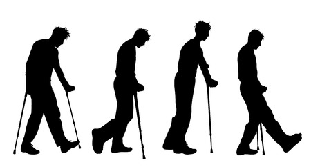 Silhouette vecteur de l'homme qui marche avec des béquilles sur fond blanc. Symbole de blessure. Vecteurs